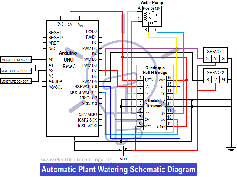 Schematic Circuit Diagram of Automatic Plant Watering & Irrigation System