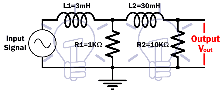 RL 2nd Order Low Pass Filter Example Circuit