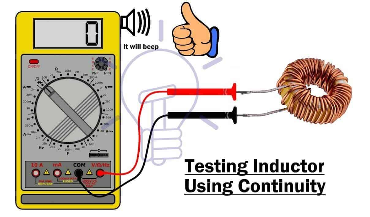 Testing Inductor using continuity