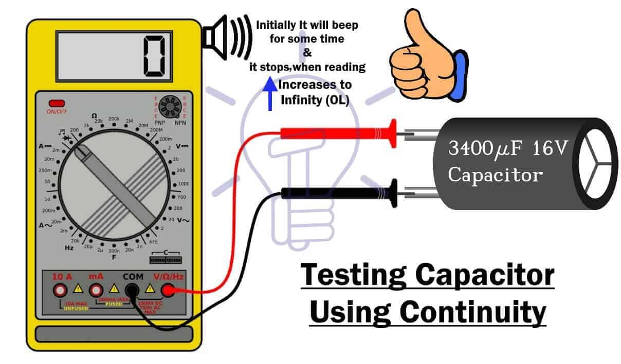 Testing capacitor using continuity