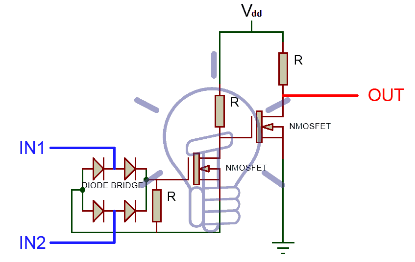 XOR Gate Using MOSFET & Diodes