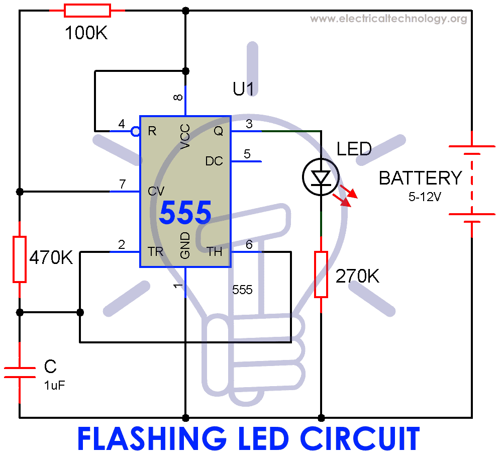 Circuit Diagram of Flashing LED Lamp Using 555 Timer IC