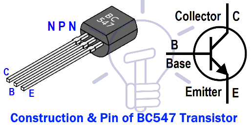 Construction and Pin of BC547 NPN Transistor