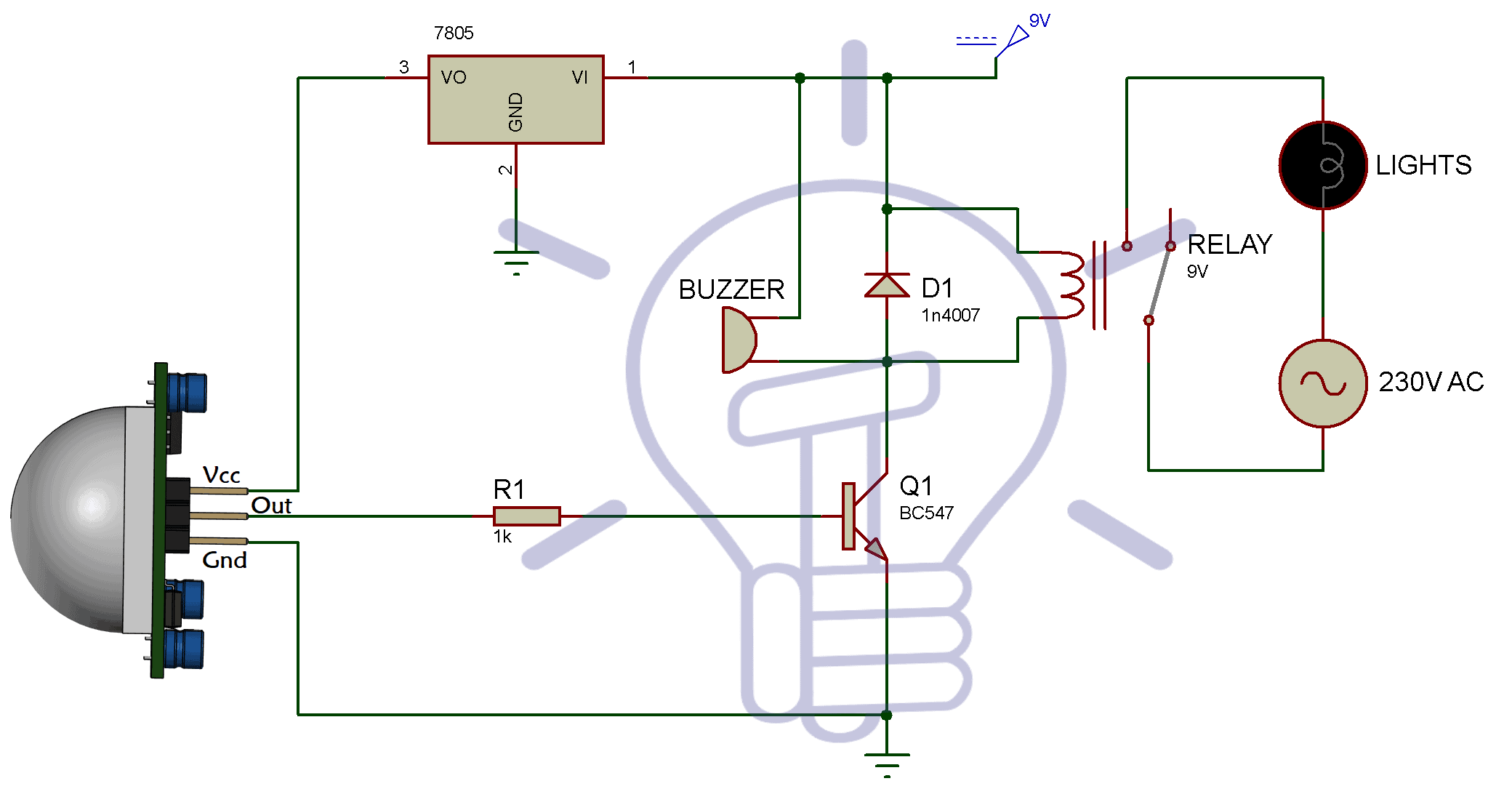 Infrared Motion Detector Circuit Diagram