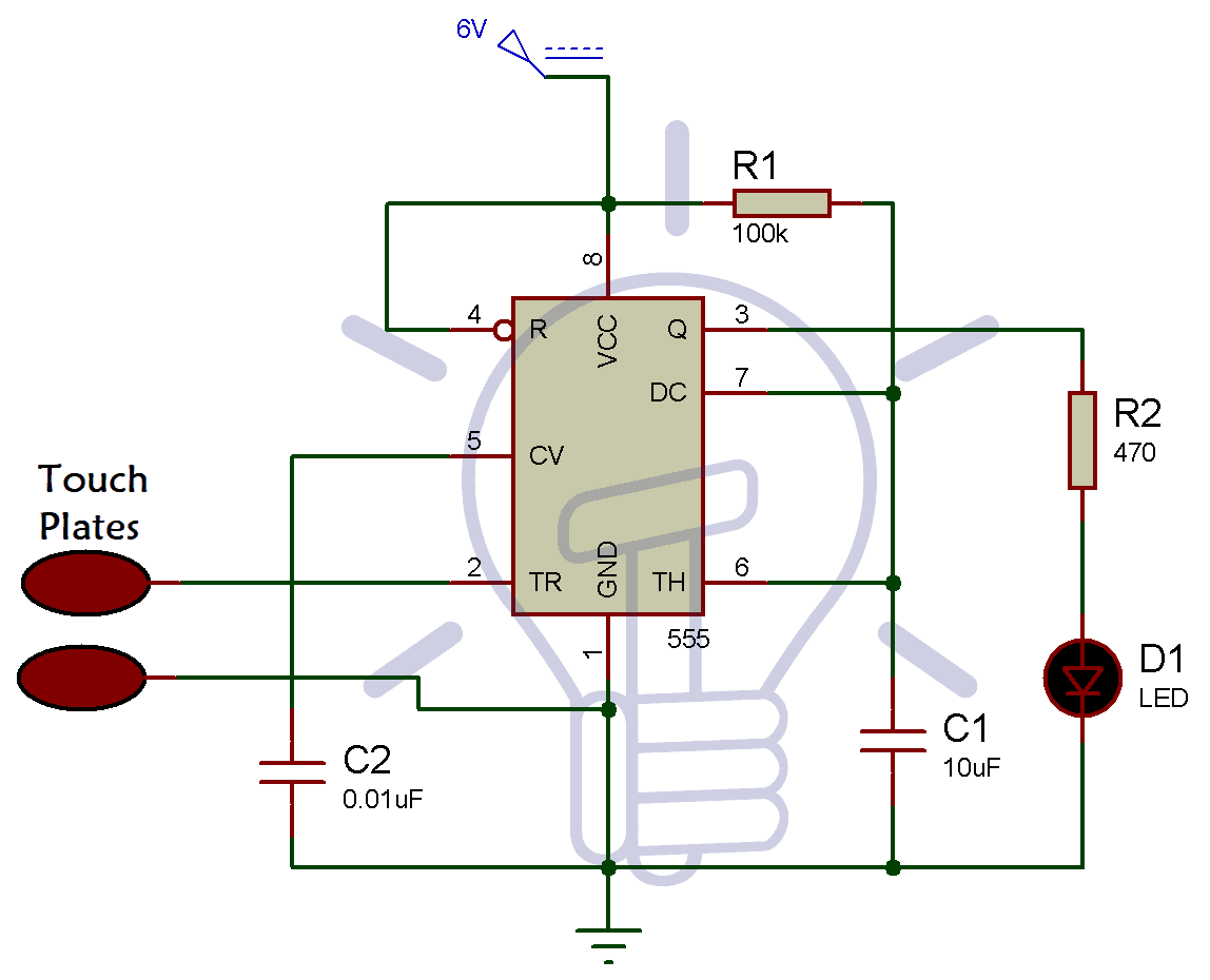 Simple Touch Sensitive Switch Circuit Using 555 Timer Bc547 Transistor