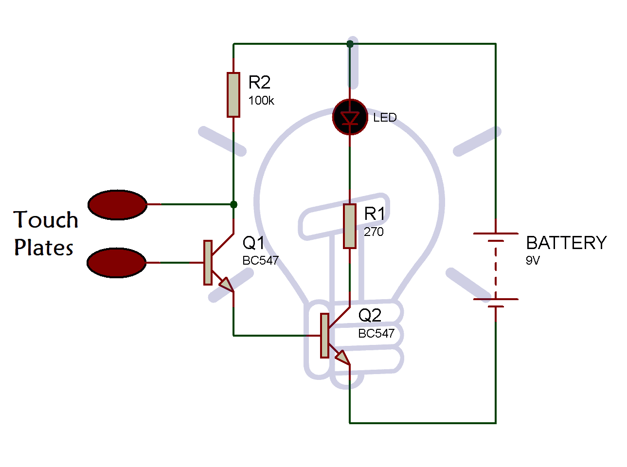 Touch-Sensitive-Circuit-Using-Transistor-BC547