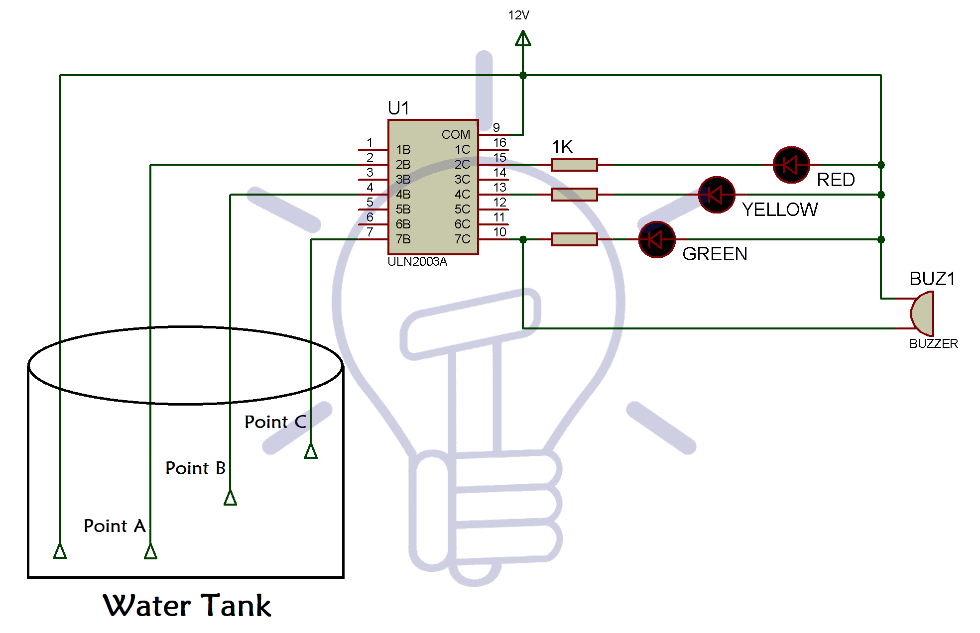 Water Level Indicator Circuit Diagram Using Bc547 And Uln