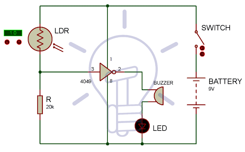 Electronic-Eye-Circuit-Diagram-using-LDR-and-4049IC