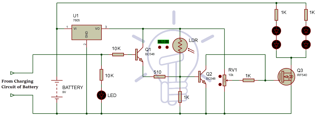 emergency light wiring diagram automatic led emergency light circuit using ldr and ic 7805 led emergency light wiring diagram led emergency light circuit using ldr