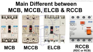 Different between MCB, MCCB, ELCB & RCCB, RCD or RCB