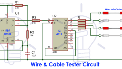 Wire and Cable Tester Circuit Diagram