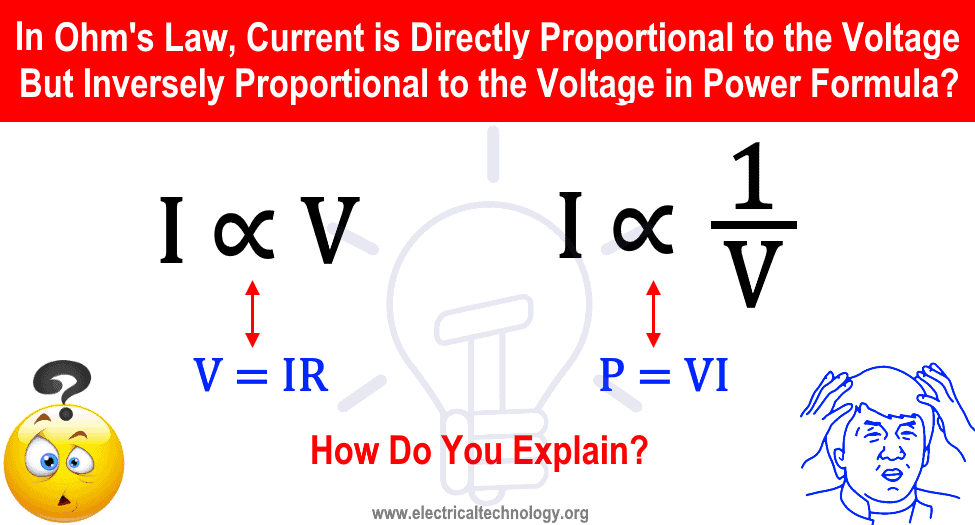 According to Ohm's Law Current is Directly Proportional to the Voltage But Inversely Proportional to the Voltage in Power Formula