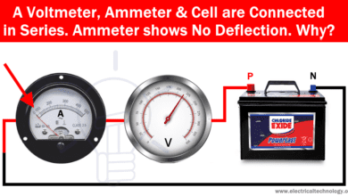 Photo of A Voltmeter, Ammeter & Cell are Connected in Series. Ammeter shows No Deflection. Why?