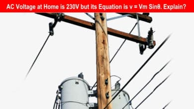 Photo of AC Voltage at Home is 230V but its Equation is v = Vm Sin θ. Explain?