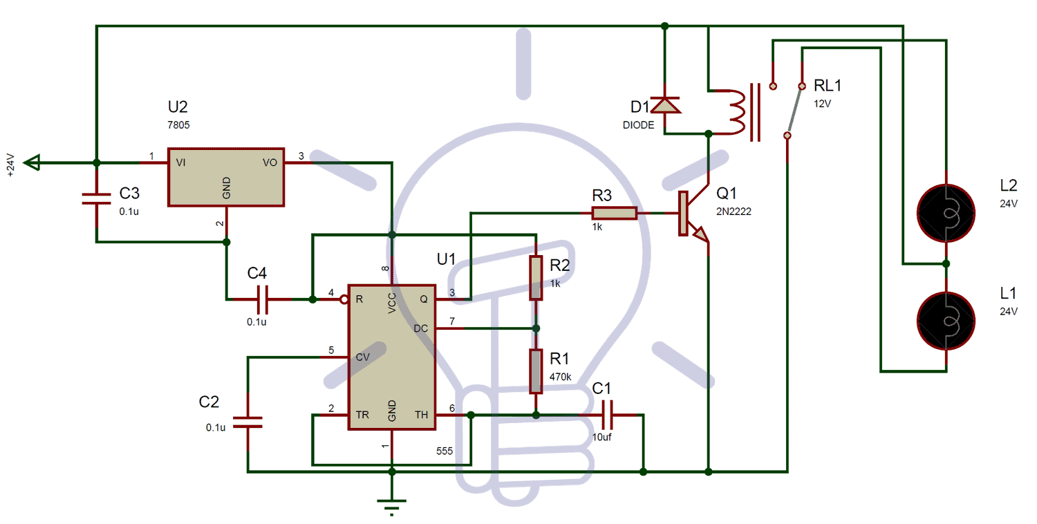 24v Flasher Circuit Diagram Using 555 Timer