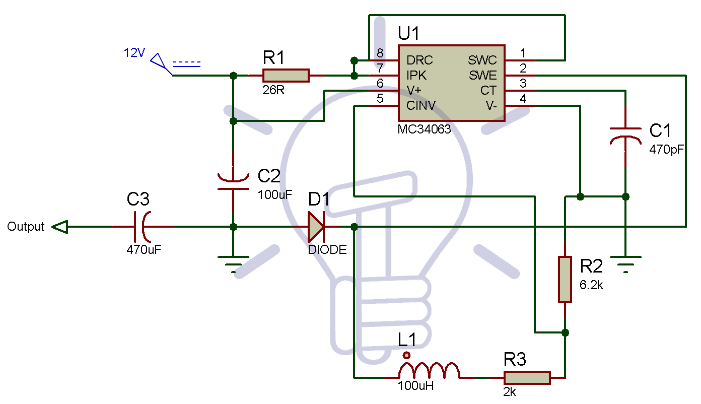 Circuit Diagram for 12v to 5v converter