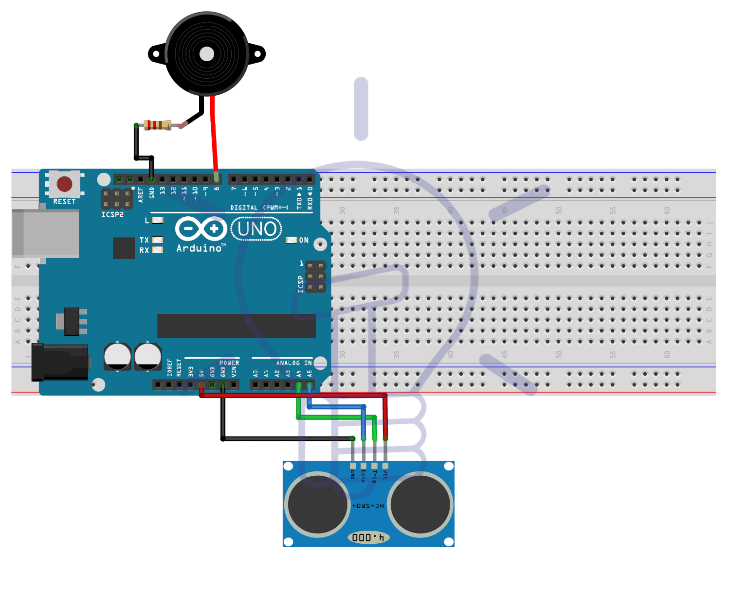 Circuit Diagram for Automatic Doorbell with object detection