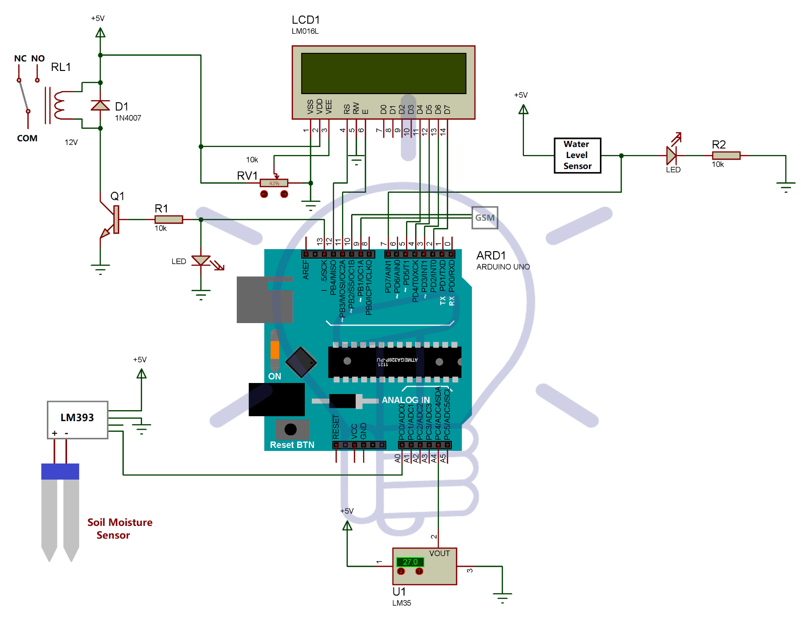 Circuit Diagram of Smart Irrigartion System