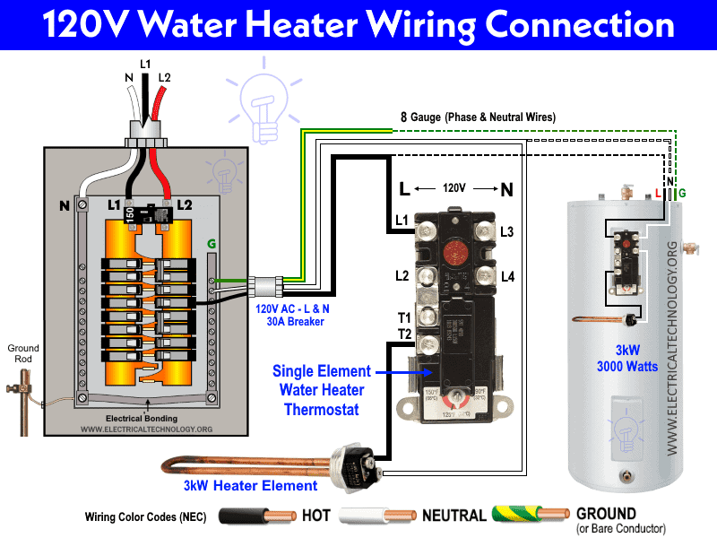 120V AC Single Element Electric Water Heater Thermostat Wiring
