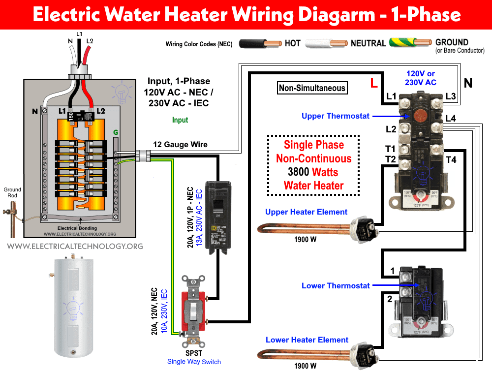 230V AC Single Phase Dual Element Water Heater Thermostat Wiring