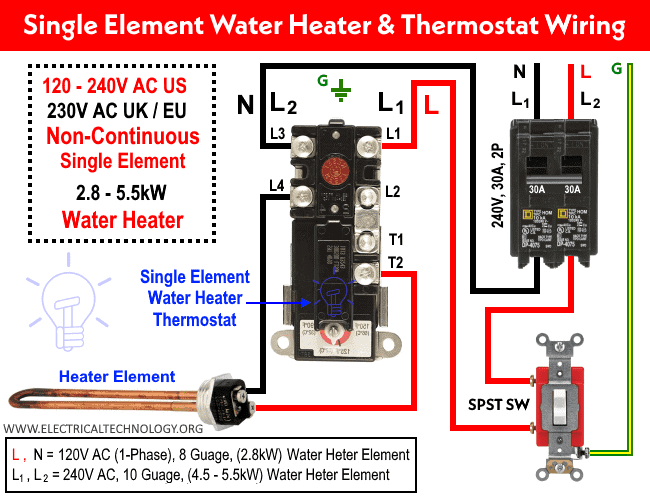 Single Element Water Heater Thermostat Wiring - 120V, 240V and 230V AC