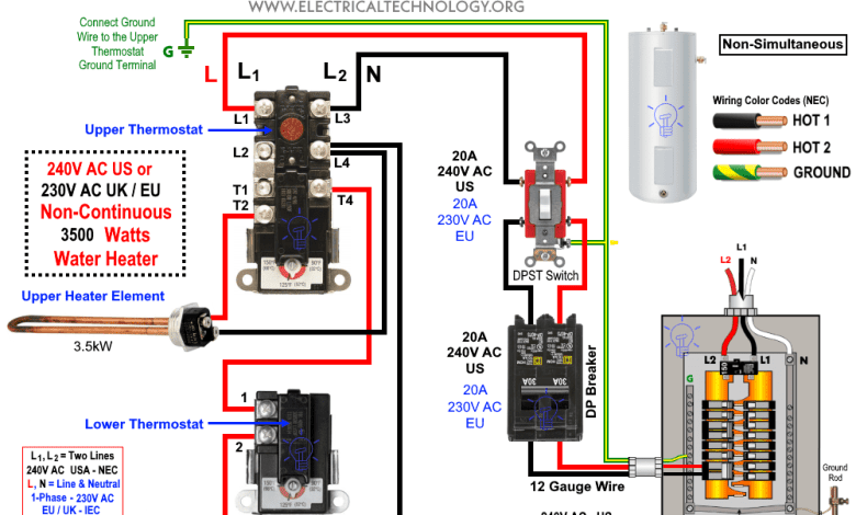 Photo of How to Wire 240V Water Heater Thermostat – Non-Continuous?
