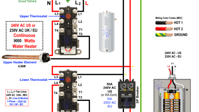 230V and 240V Continues Dual Element Electric Water Heater Thermostat Wiring