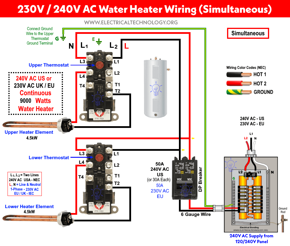 How to Wire 240V - 230V Simultaneous Water Heater Thermostat?Electrical Technology