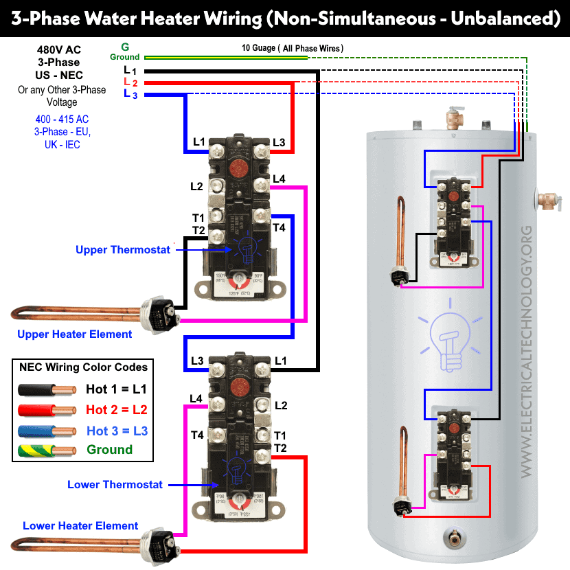 How To Wire 3 Phase Non Simultaneous Water Heater Thermostat