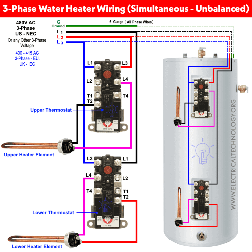 How to Wire 3-Phase Simultaneous Water Heater Thermostat?Electrical Technology