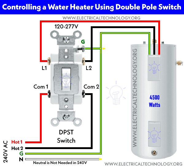 how to control water heater using 123  4way switches