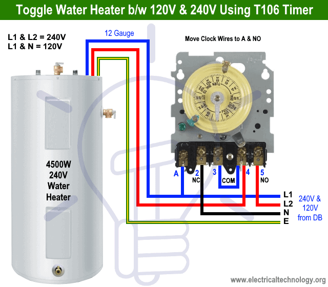 How to Toggle water heater between 120V and 240V using T106 Timer