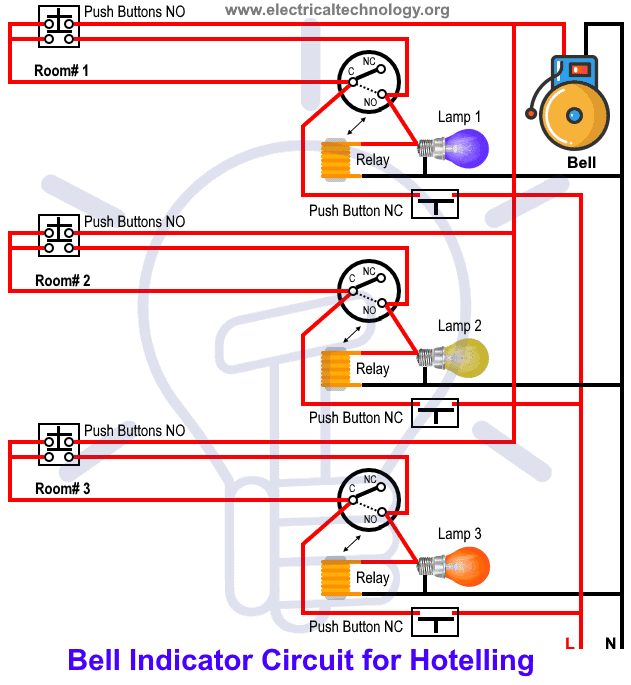 hotel wiring circuit  bell indicator circuit for hotelling