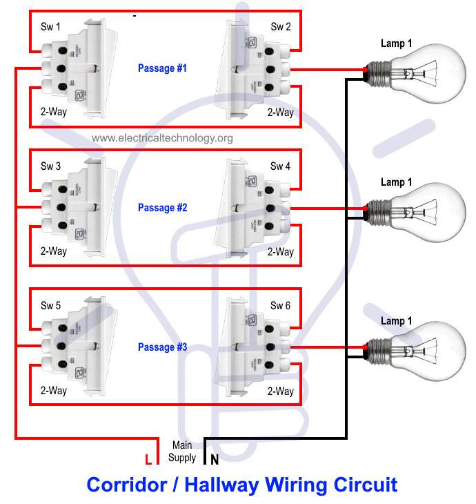 corridor wiring circuit  hallway wiring using spdt switches