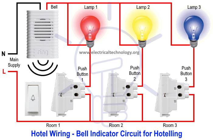 Hotel Wring Circuit - Bell Indicator Circuit for Hotelling