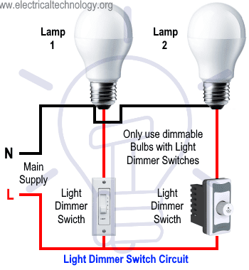 Light Dimmer Switch Circuit for Dimmable Light
