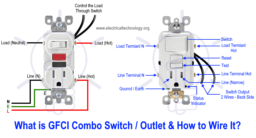 How To Wire Gfci Combo Switch Outlet Gfci Switch Outlet Wiring