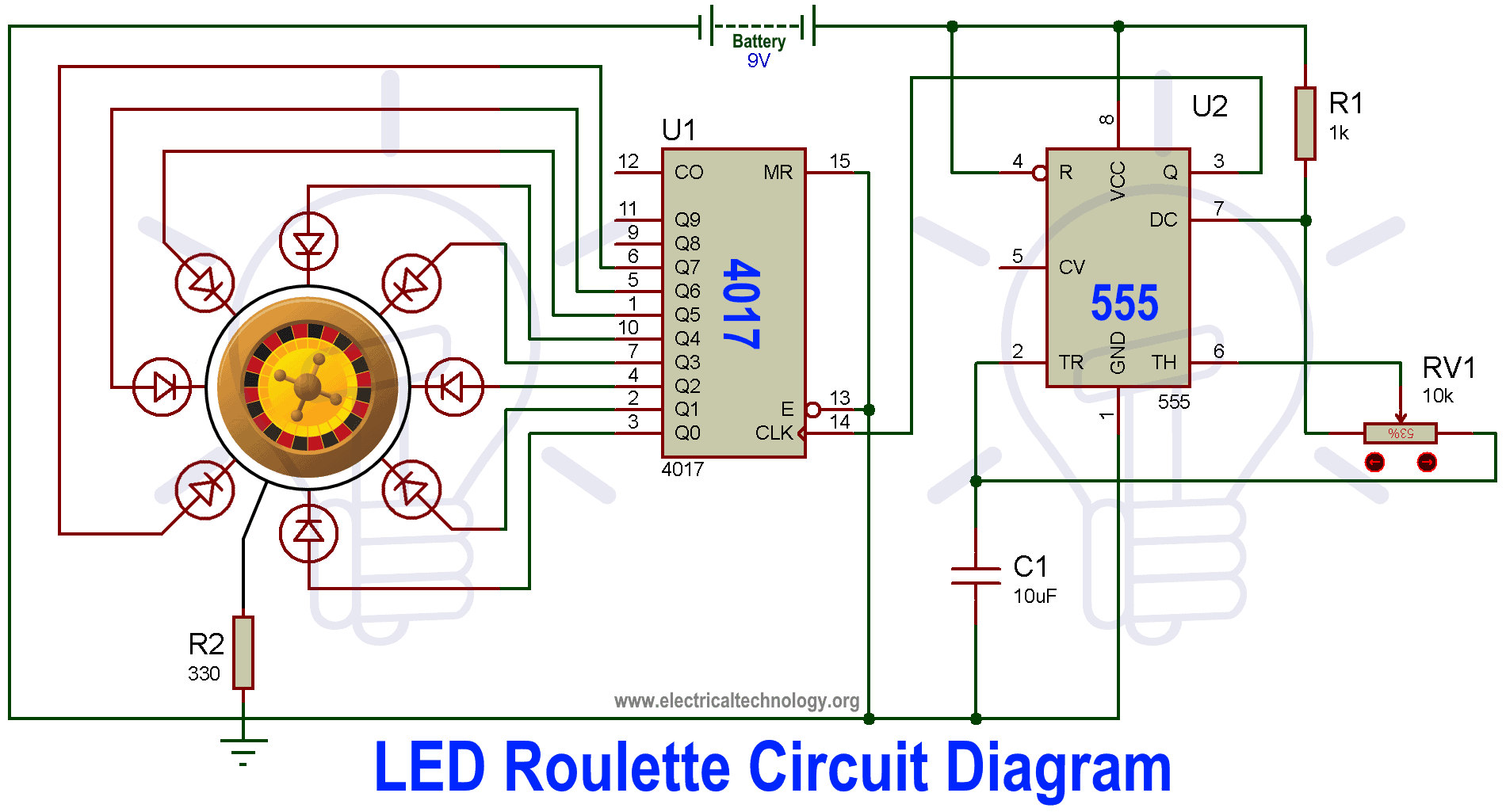 LED Roulette Circuit Diagram