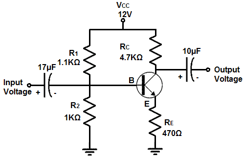 Schematic diagram of votlage amplifier