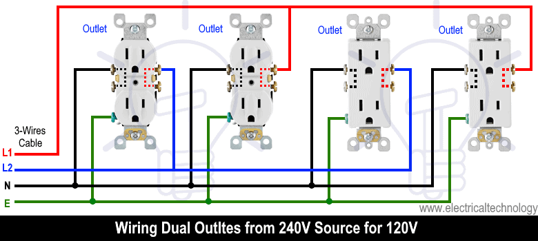Wiring Dual Outlets from 240V Source for 120V