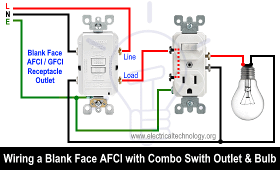 Wiring a Blank Face AFCI with Combo Switch Outlet and Light bulb