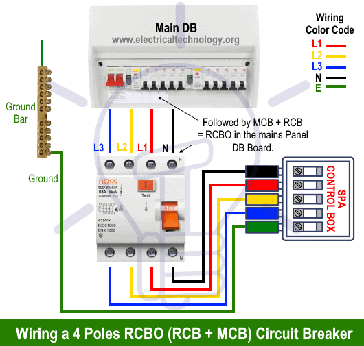 Wiring a Three Poles RCBO (MCB + RCB or RCD)Circuit Breaker