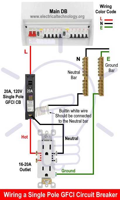 how to wire a gfci circuit breaker? 1, 2, 3 & 4 poles gfci wiring  electrical technology