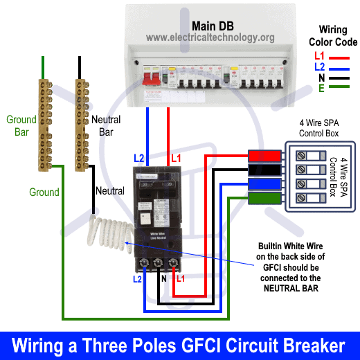 Wiring a Three Poles GFCI Circuit Breaker