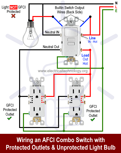 Wiring an AFCI Combo Switch with Protected Outlets & Unprotected Light Bulb