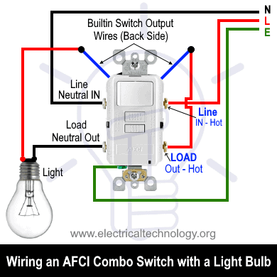 Wiring an AFCI Combo Switch with a Light bulb