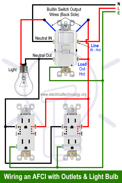 Wiring an AFCI Switch with Outlets and Light Bulb