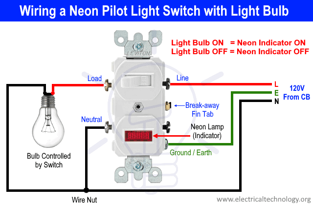 Wiring A Neon Pilot Light Switch with Light Bulb