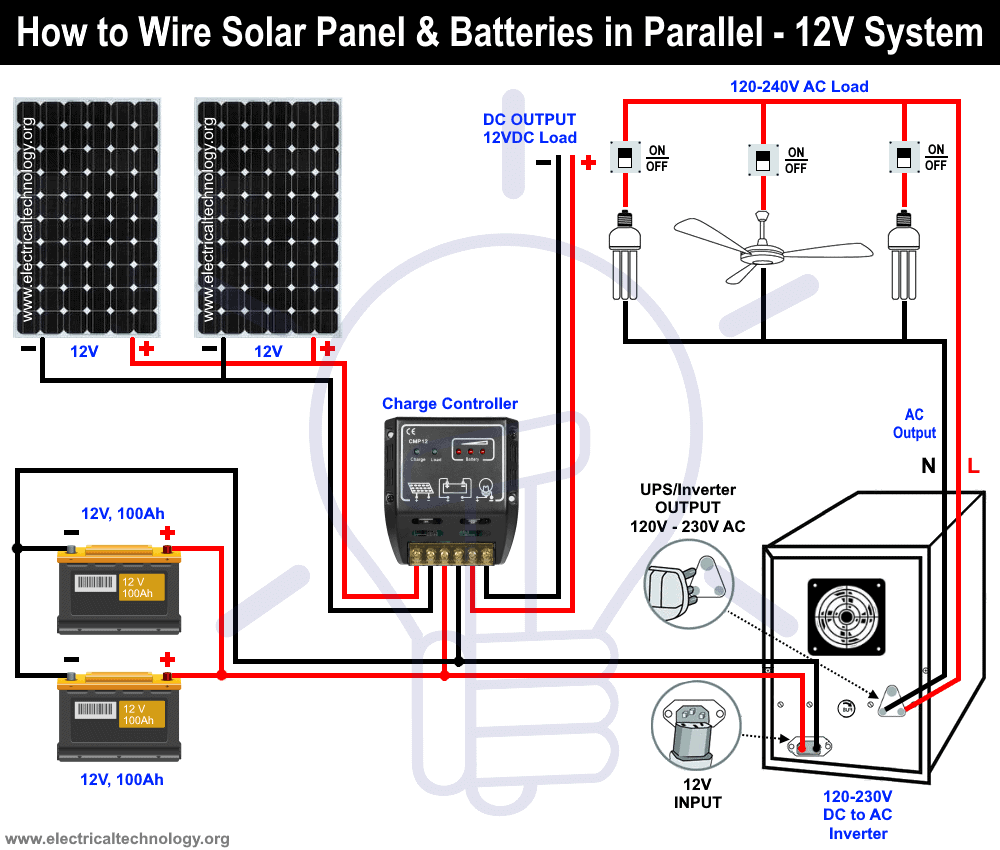How To Wire Solar Panel Batteries In Parallel 12v System