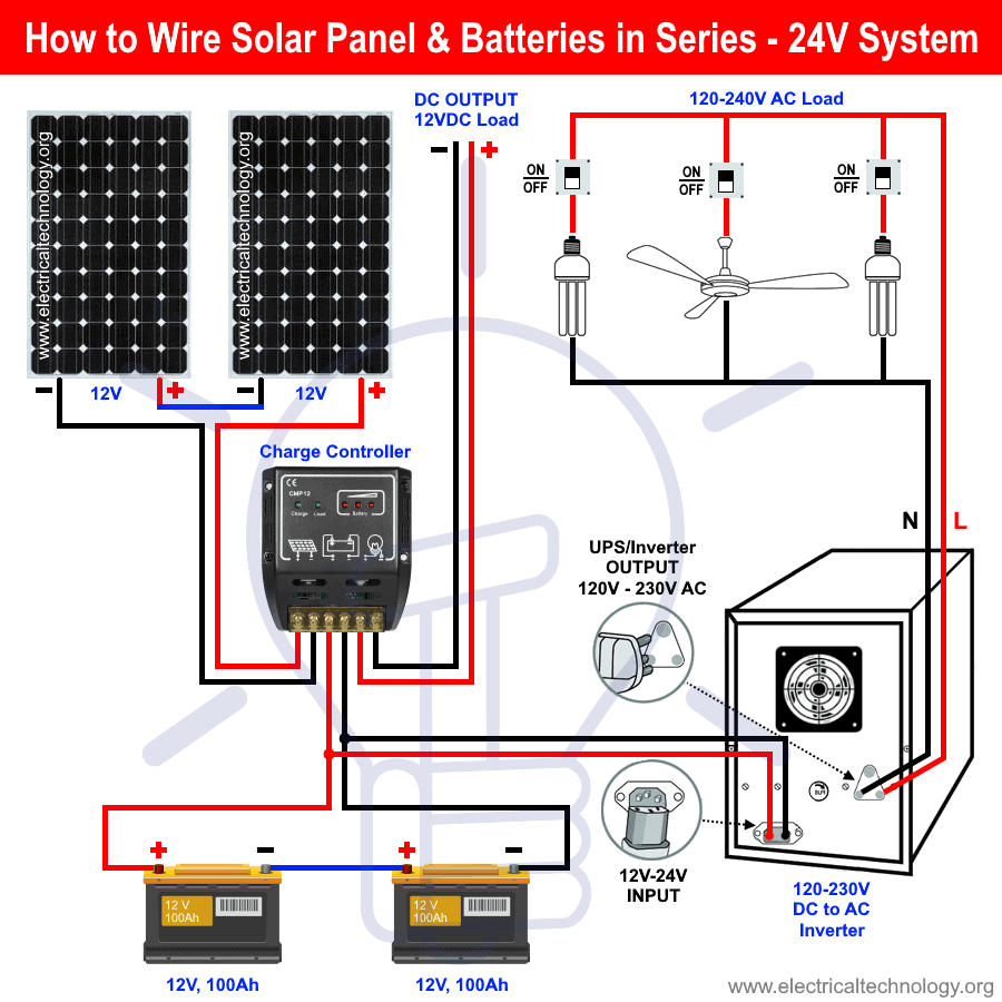 How To Wire Solar Panel Batteries In Series For 24v System